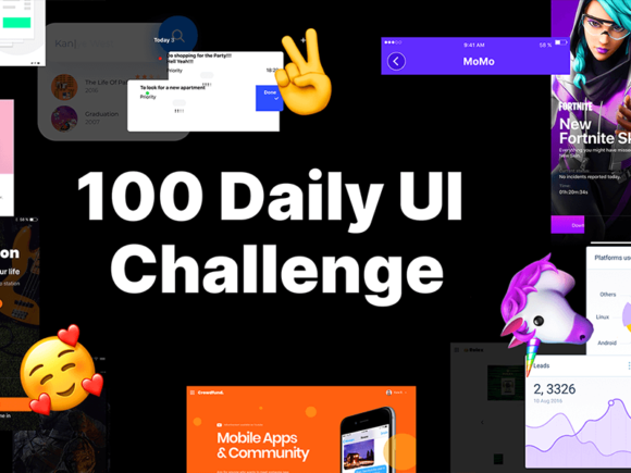 100 Daily UI Challenge: grande collection d'articles