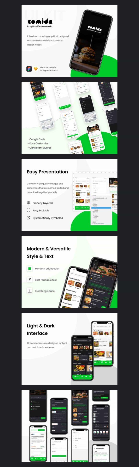 Comida: Kit d'interface utilisateur gratuit pour les applications de livraison de nourriture
