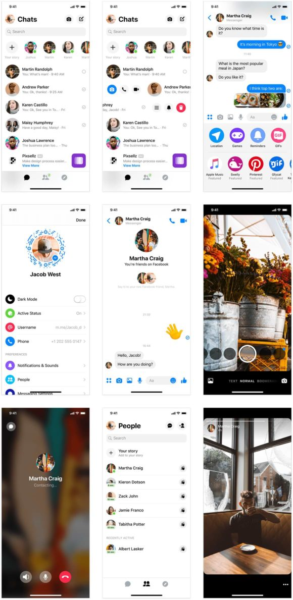 Bibliothèque d'applications mobiles: plus de 120 interfaces utilisateur provenant de 4 applications sociales