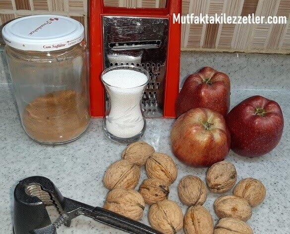 Elmalı kurabiye malzemeleri