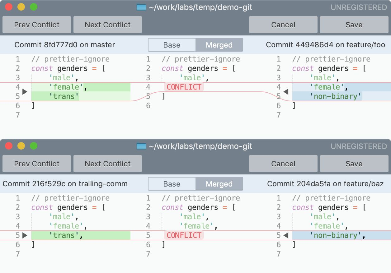 Conflict code hiển thị khi không dùng và có dùng trailing comma