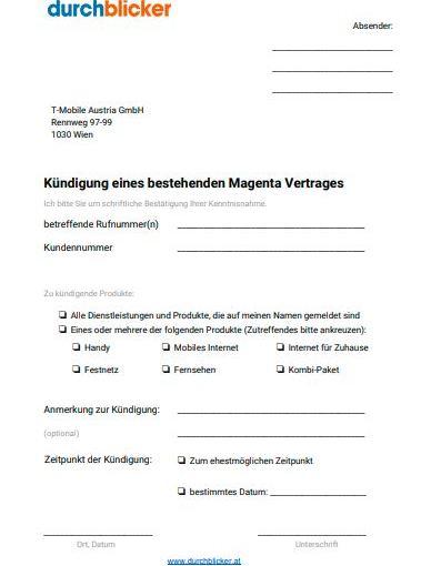 T mobile kündigungsformular Telekom online