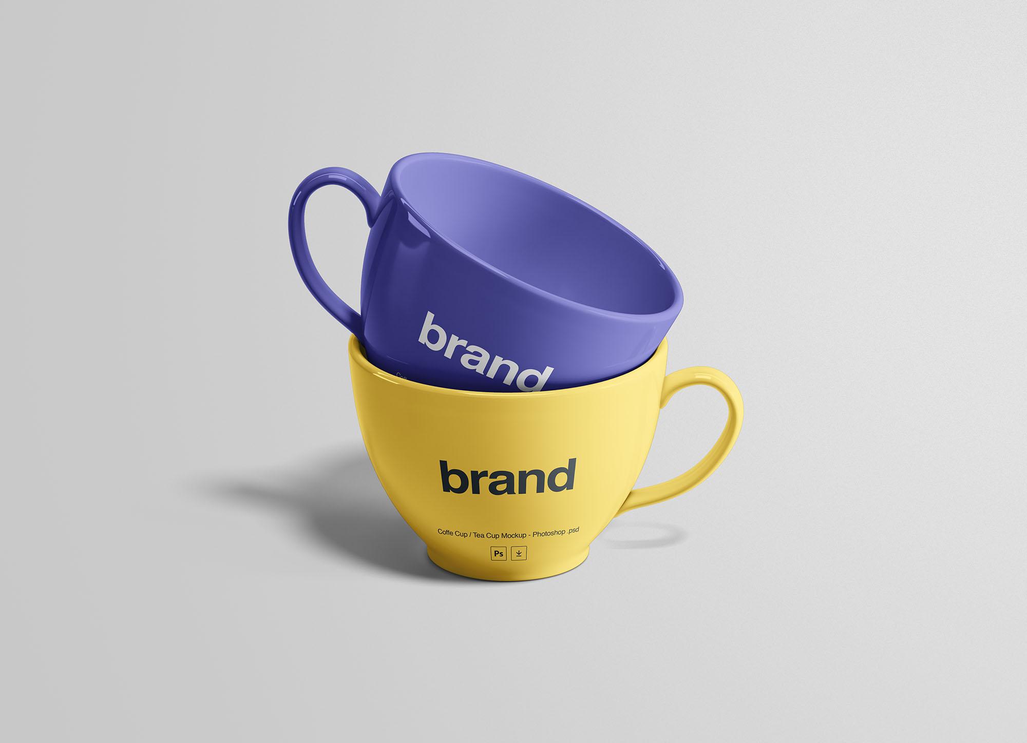 Tea Cups Mockup PSD