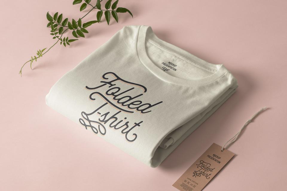 Folded Psd T-Shirt Mockup Template