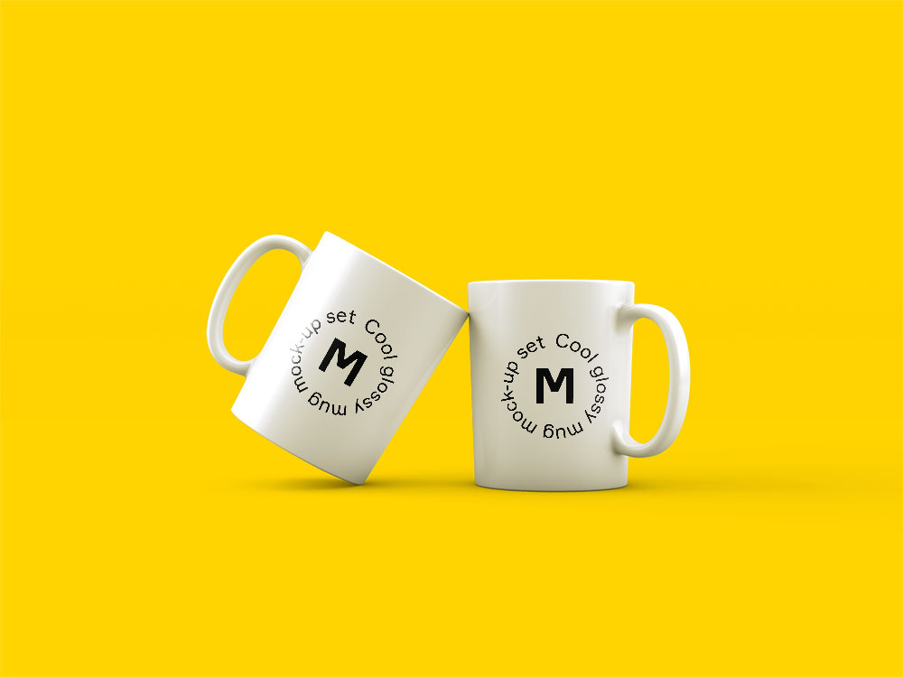 Two Mugs Free Psd Mockup