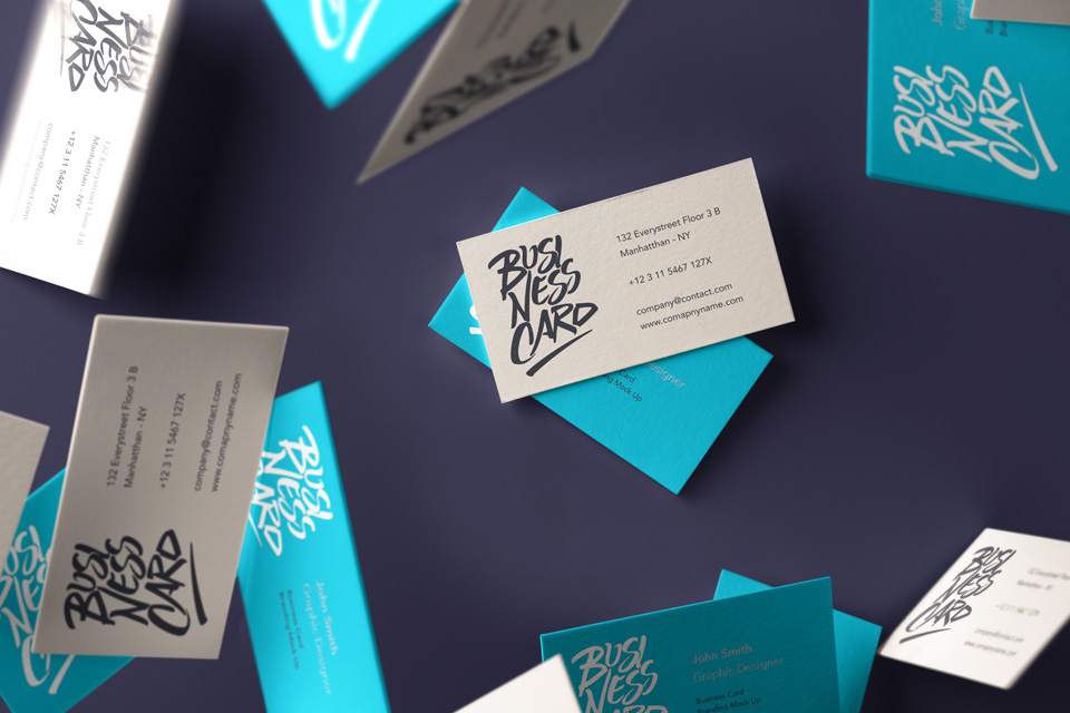 Falling Psd Business Card Mockup