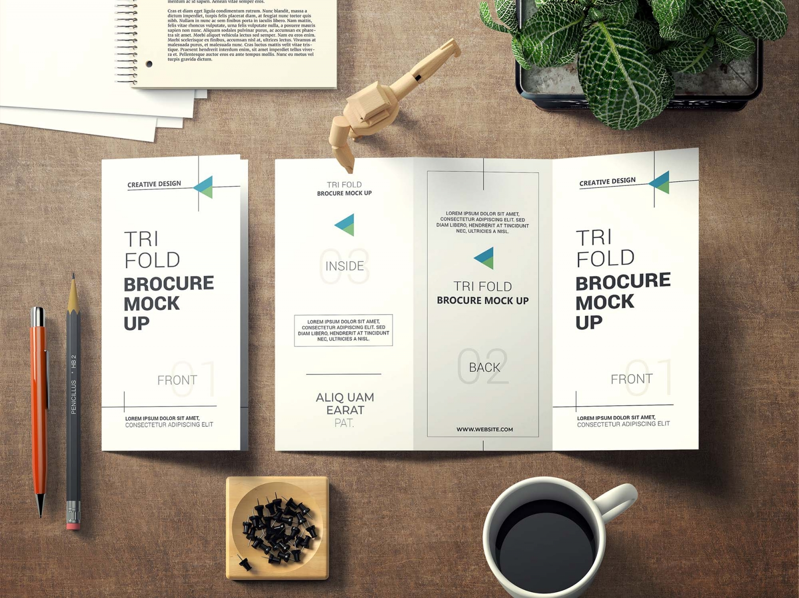 Creative Tri Fold Brochure Psd Mockup Free Psd Mockups