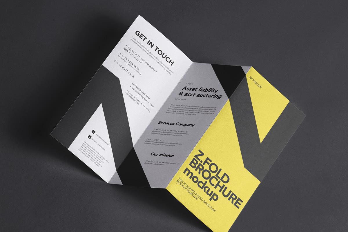 3 Panel Z-Fold Brochure PSD Mockups
