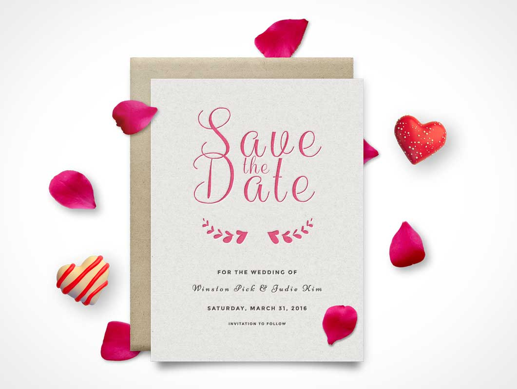 Invitation Wedding Card PSD Mockup