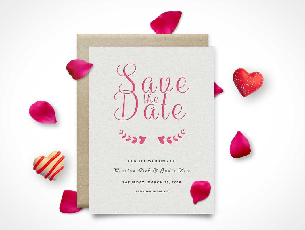 Invitation Wedding Card PSD Mockup