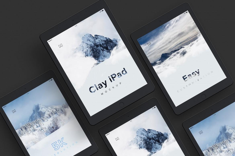 Clay iPad Free PSD Mockup
