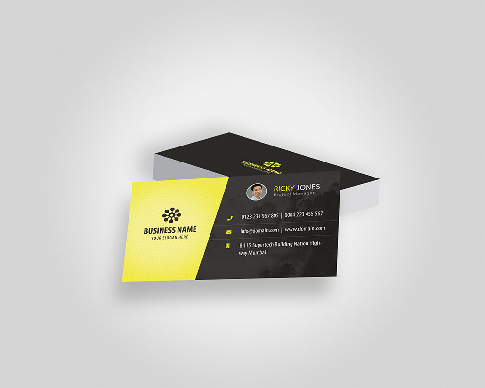 Yellow Personal Business Card PSD Mockup