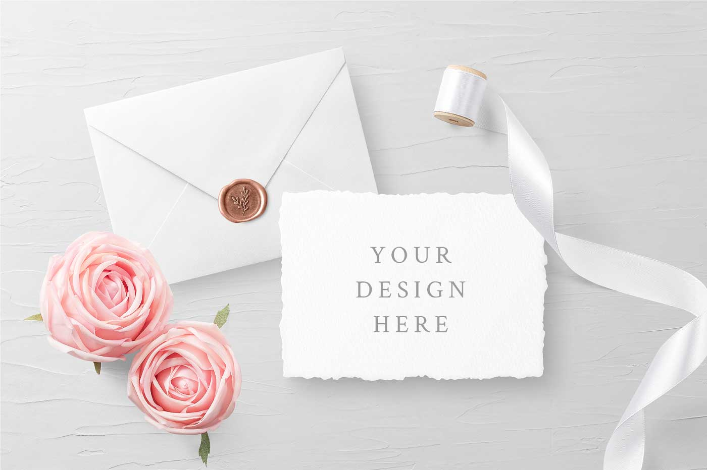 Wedding Invitation Card & Envelope Psd Mockup
