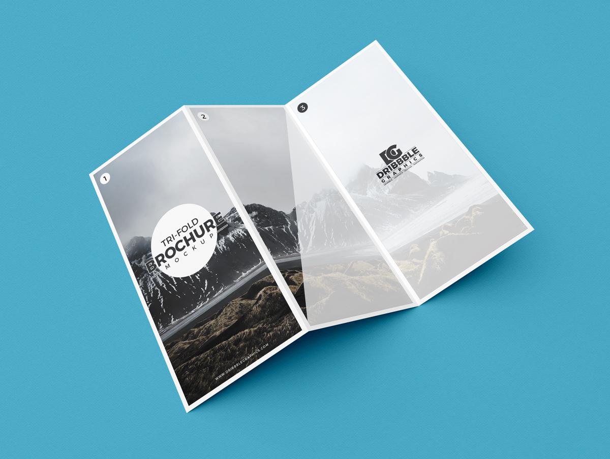Free Modern Tri-Fold Brochure Mockup PSD