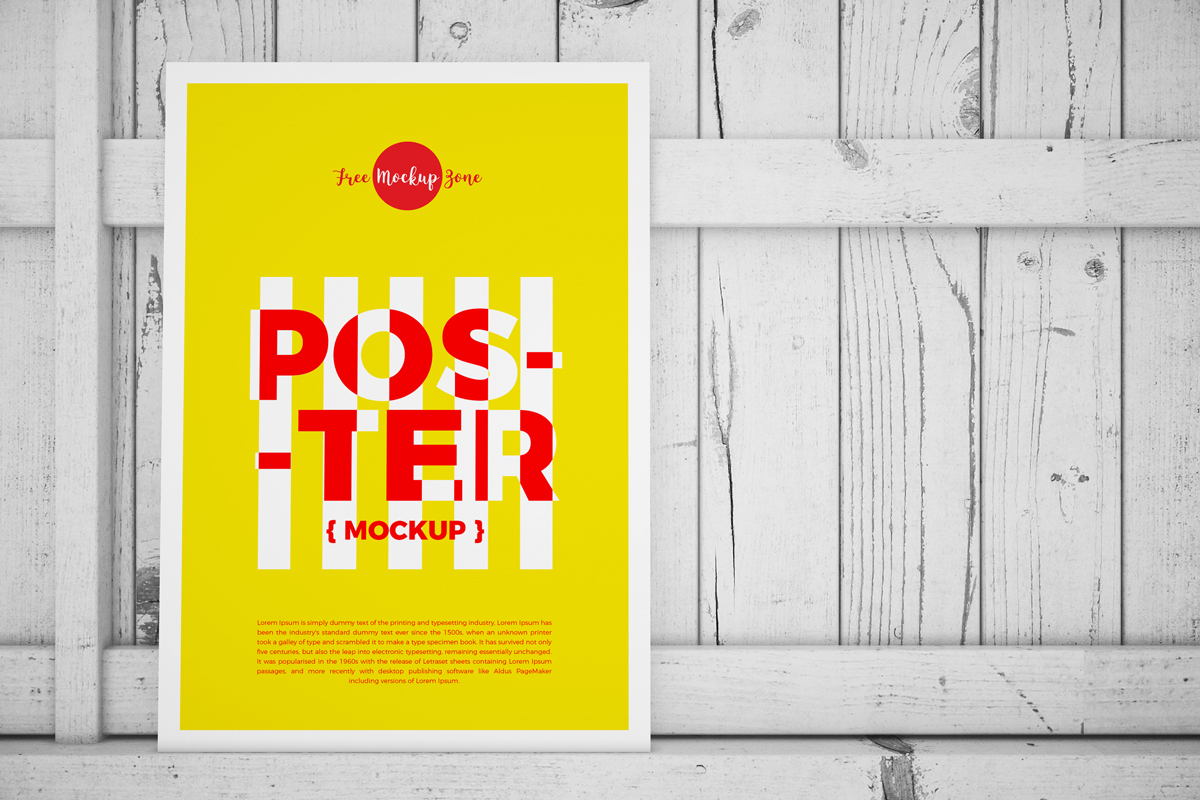 Free Standing Poster on Wood Mockup