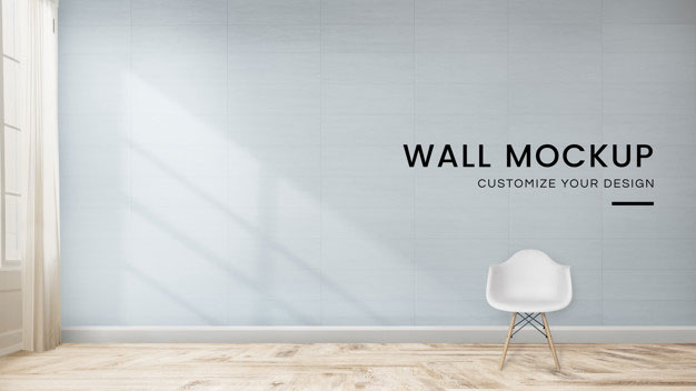 Chair Blue Room Wall Mockup