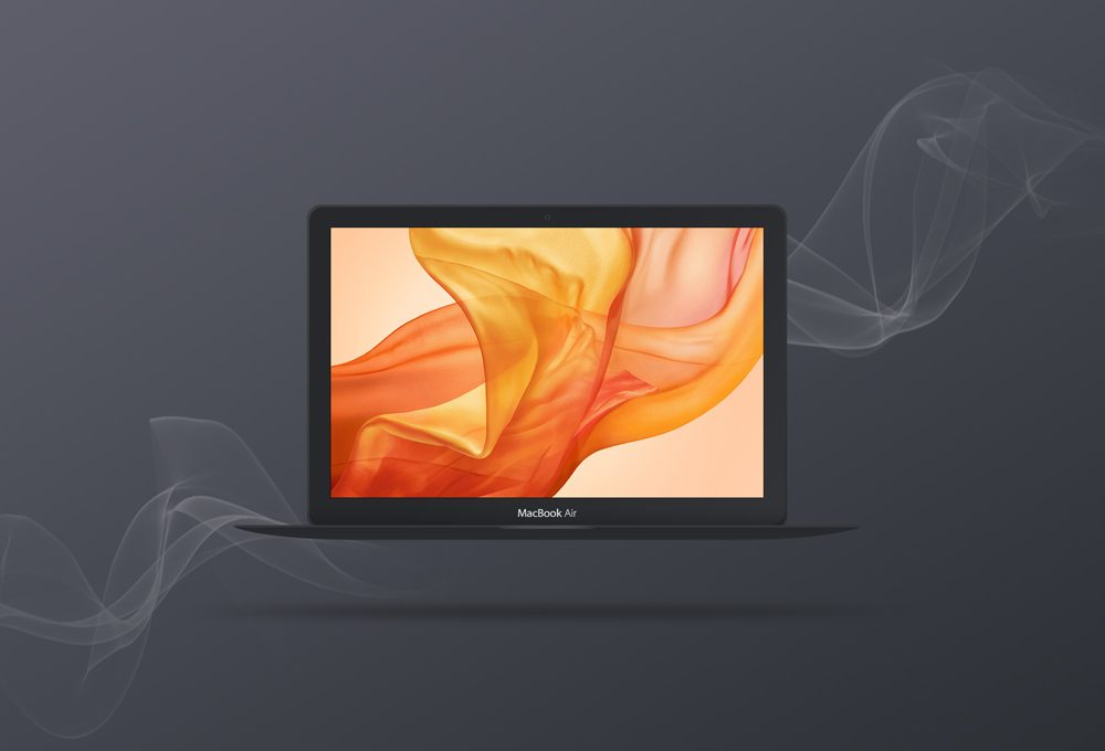 Free Dark Apple MacBook Mockup PSD