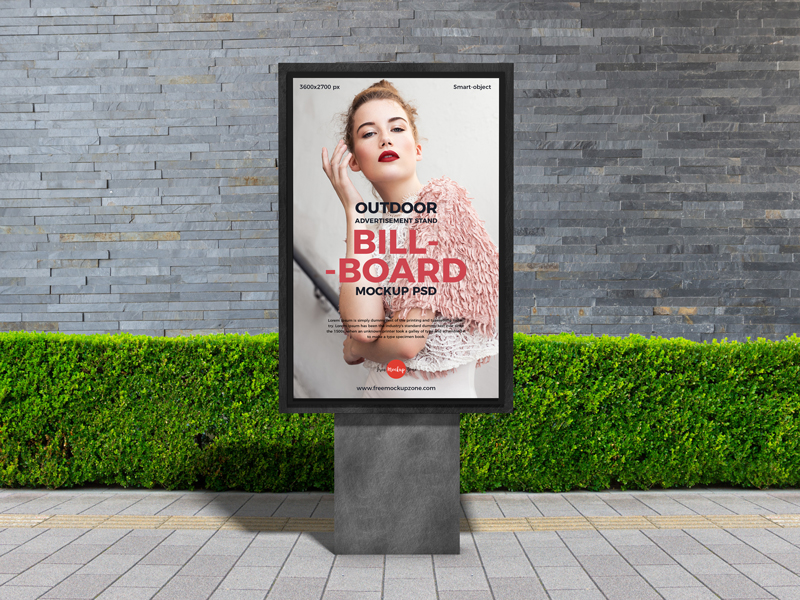 Outdoor Advertisement Stand Billboard Mockup PSD