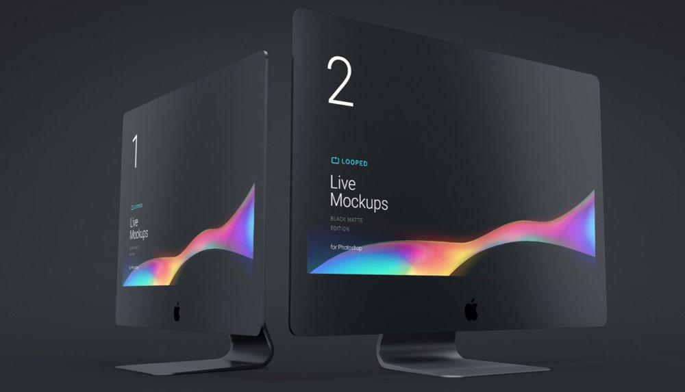 8 Black Matte Apple Devices Mockups in Multiple Views