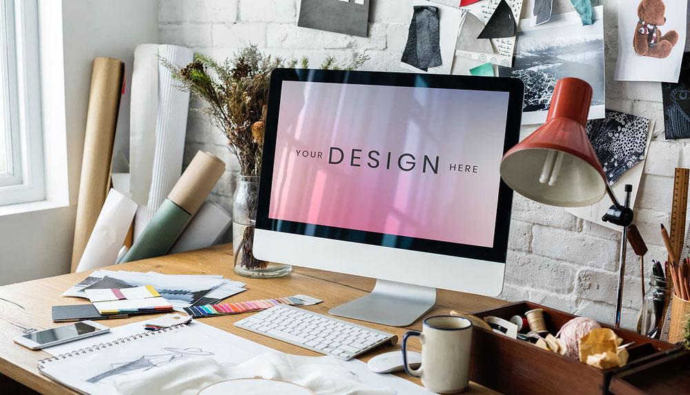Fashion design on a computer screen mockup