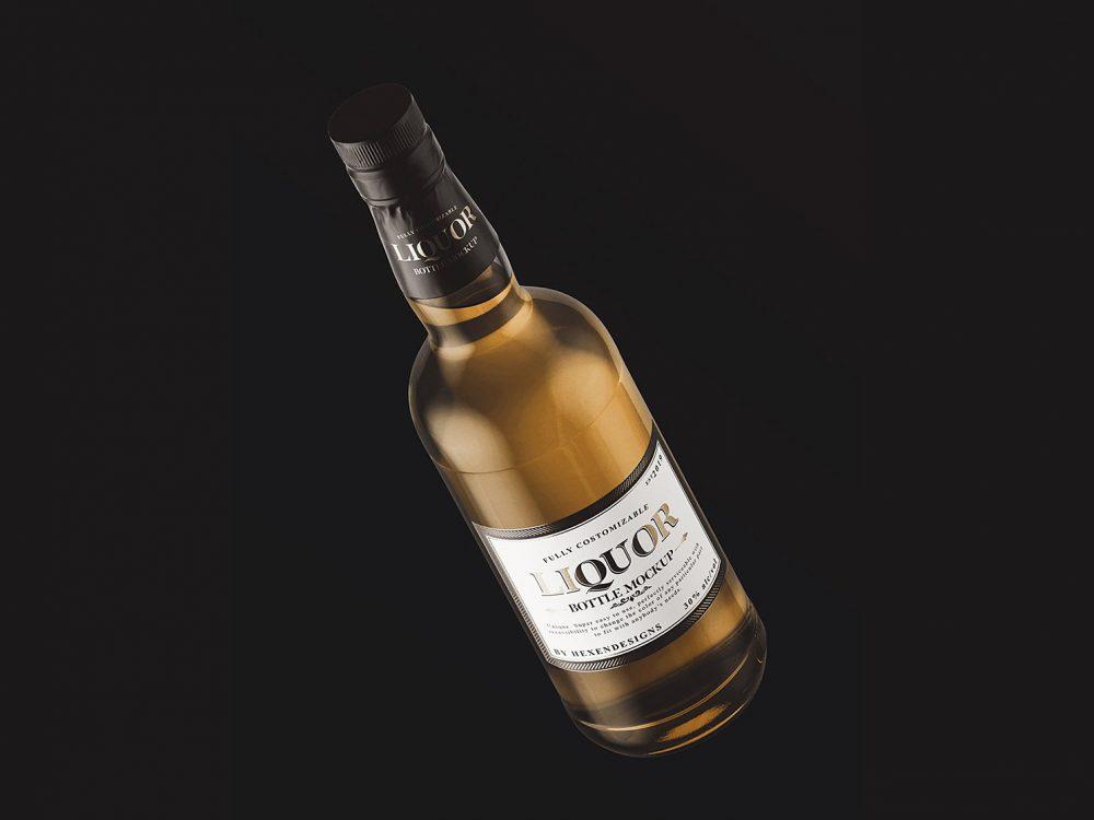 Free Liquor Bottle Mockup