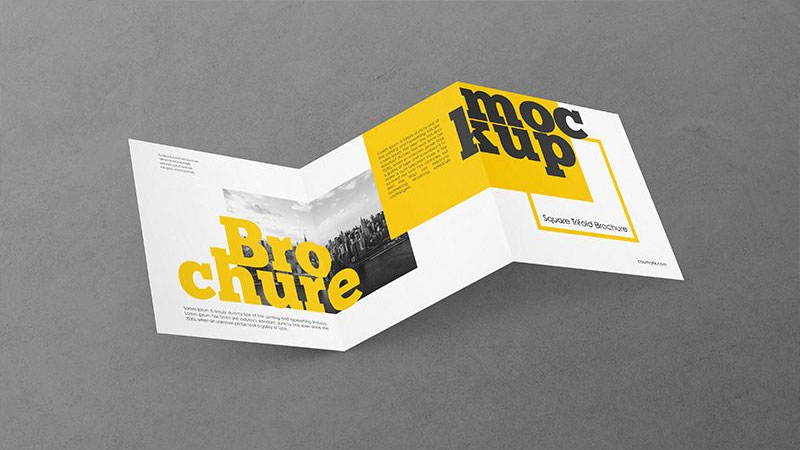 Free Square Trifold Brochure PSD MockUp