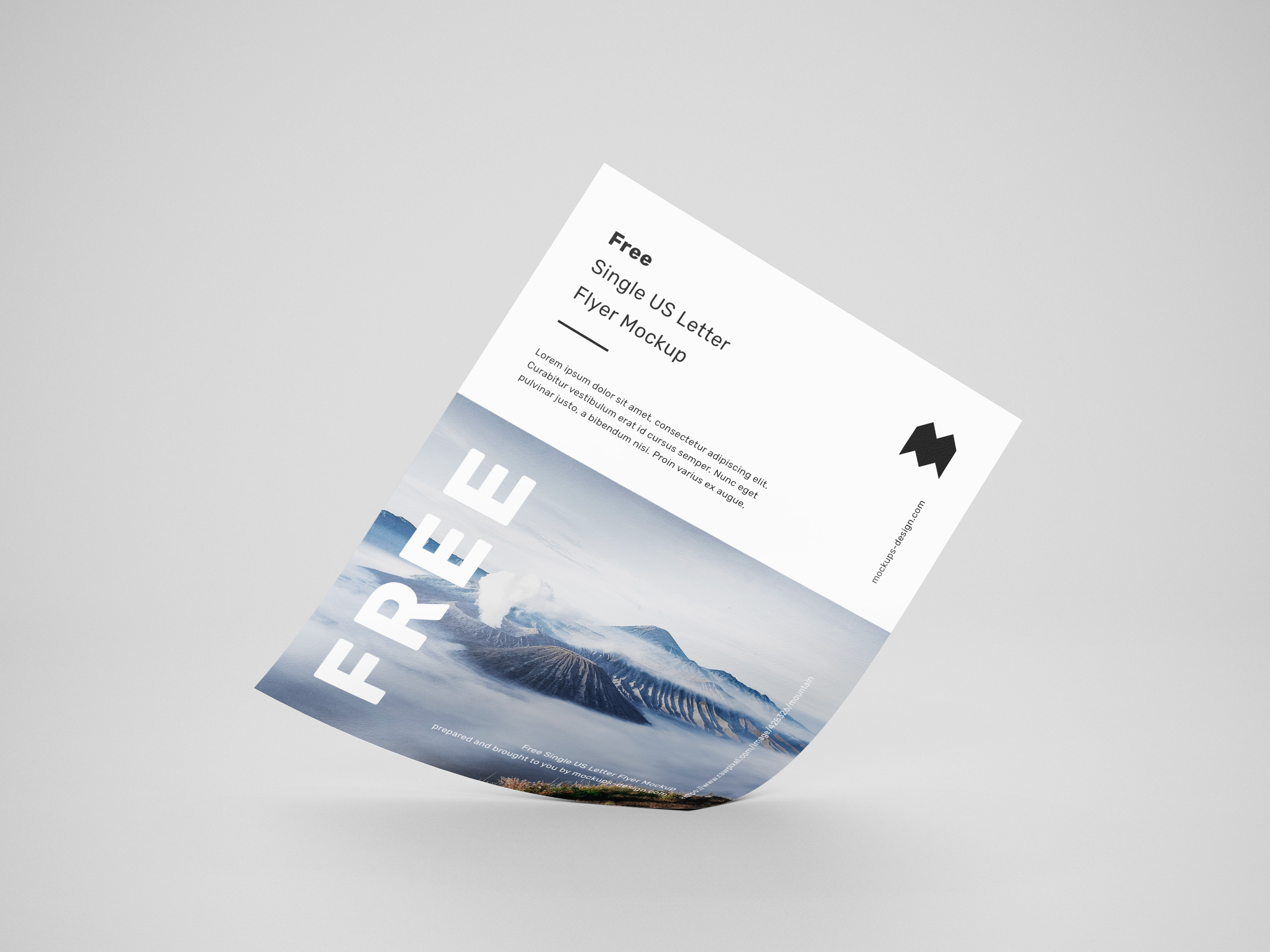 Free single US letter flyer mockup