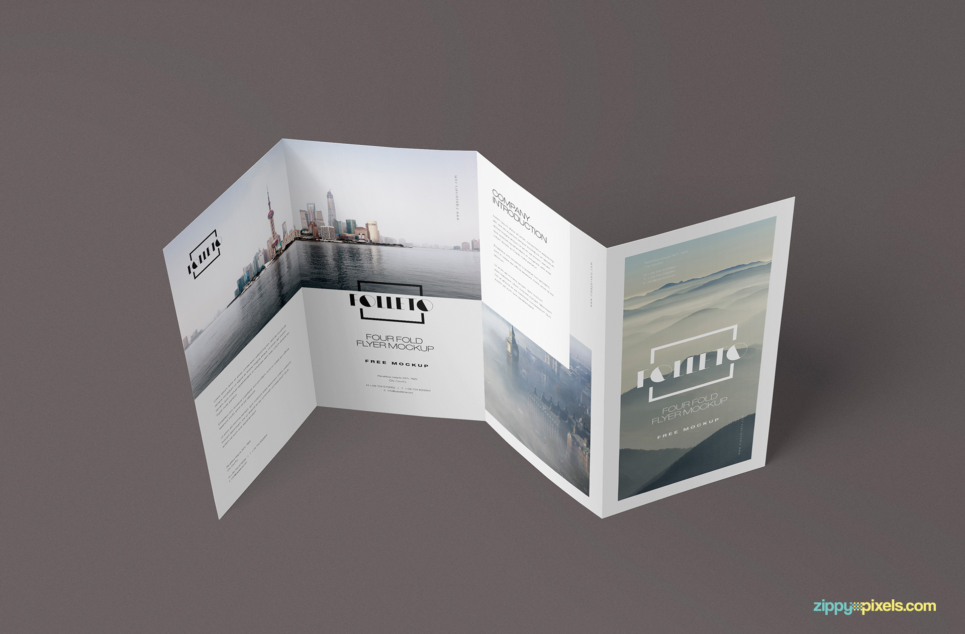 Free Photo Realistic Folded Brochure Mockup