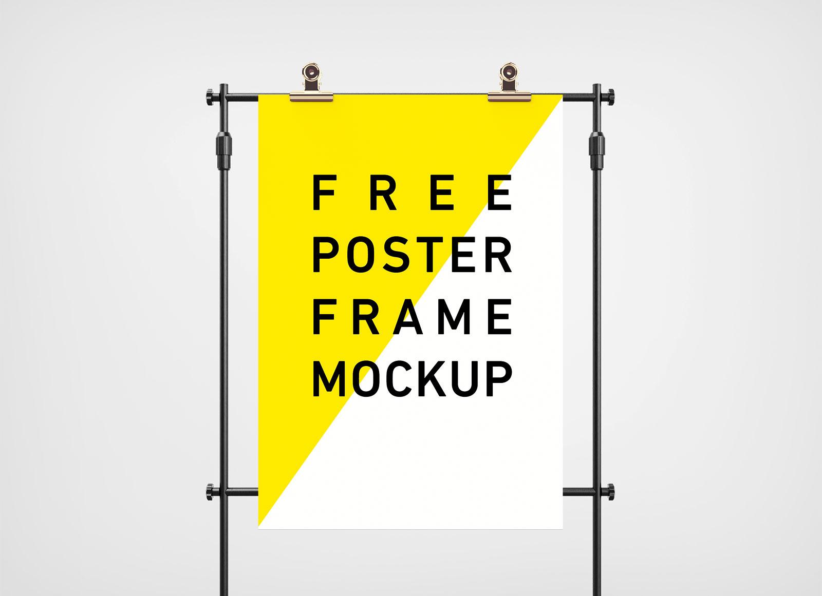 Free Poster On Stand Studio Scene Mockup