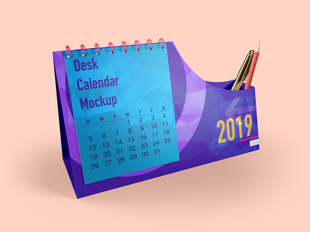 Desk Calendar With Pen Box Mockups