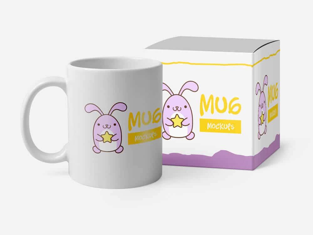 Free Mug Mockups with the Carton Box