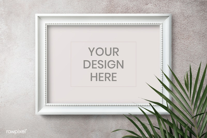 White frame mockup on a gray wall