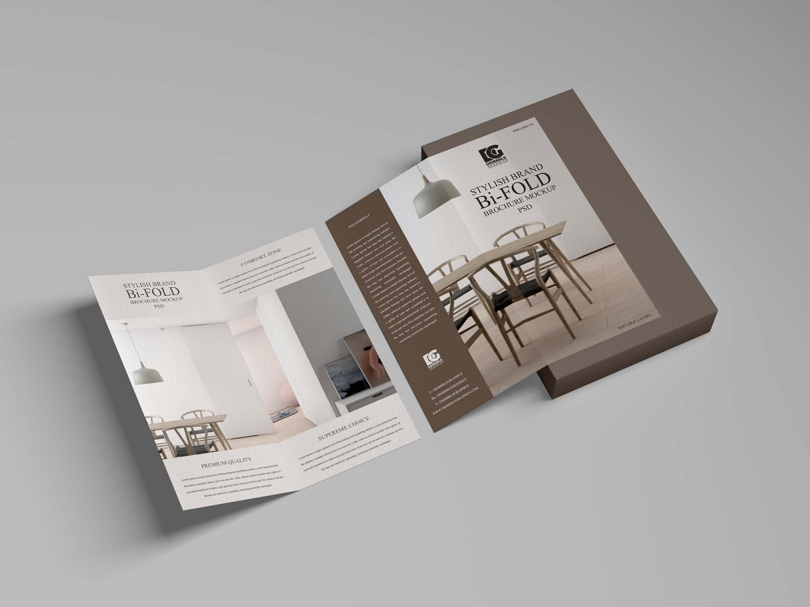 Free Stylish Brand Bi-Fold Brochure Mockup