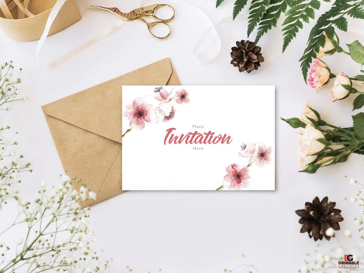 Flowers Invitation Mockup PSD