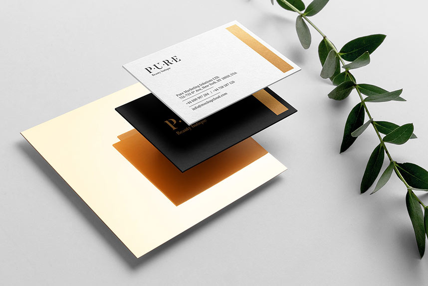 Free Floral Business Card Mockup