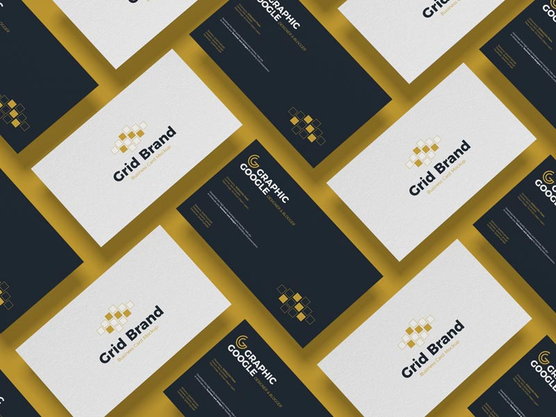 Free Grid Brand Business Card Mockup