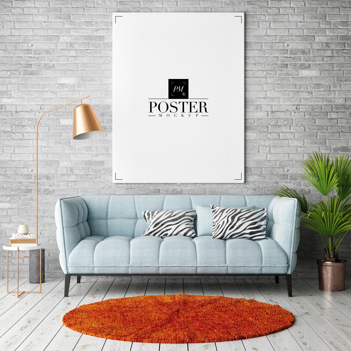 Elegant Room Interior Frame Poster Mockup PSD