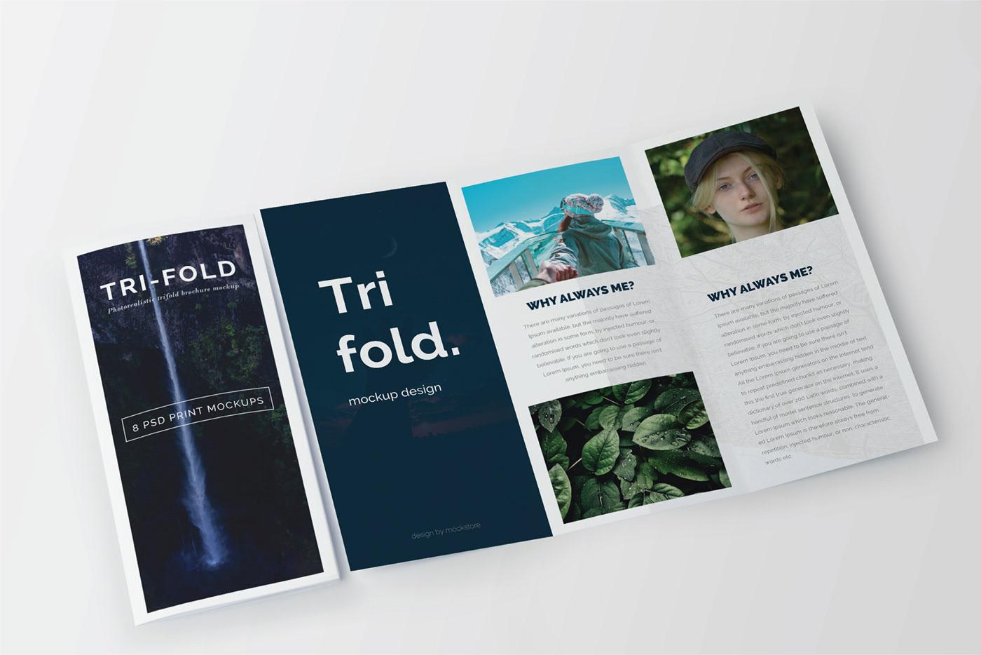 Open Trifold-Brochure Mockup