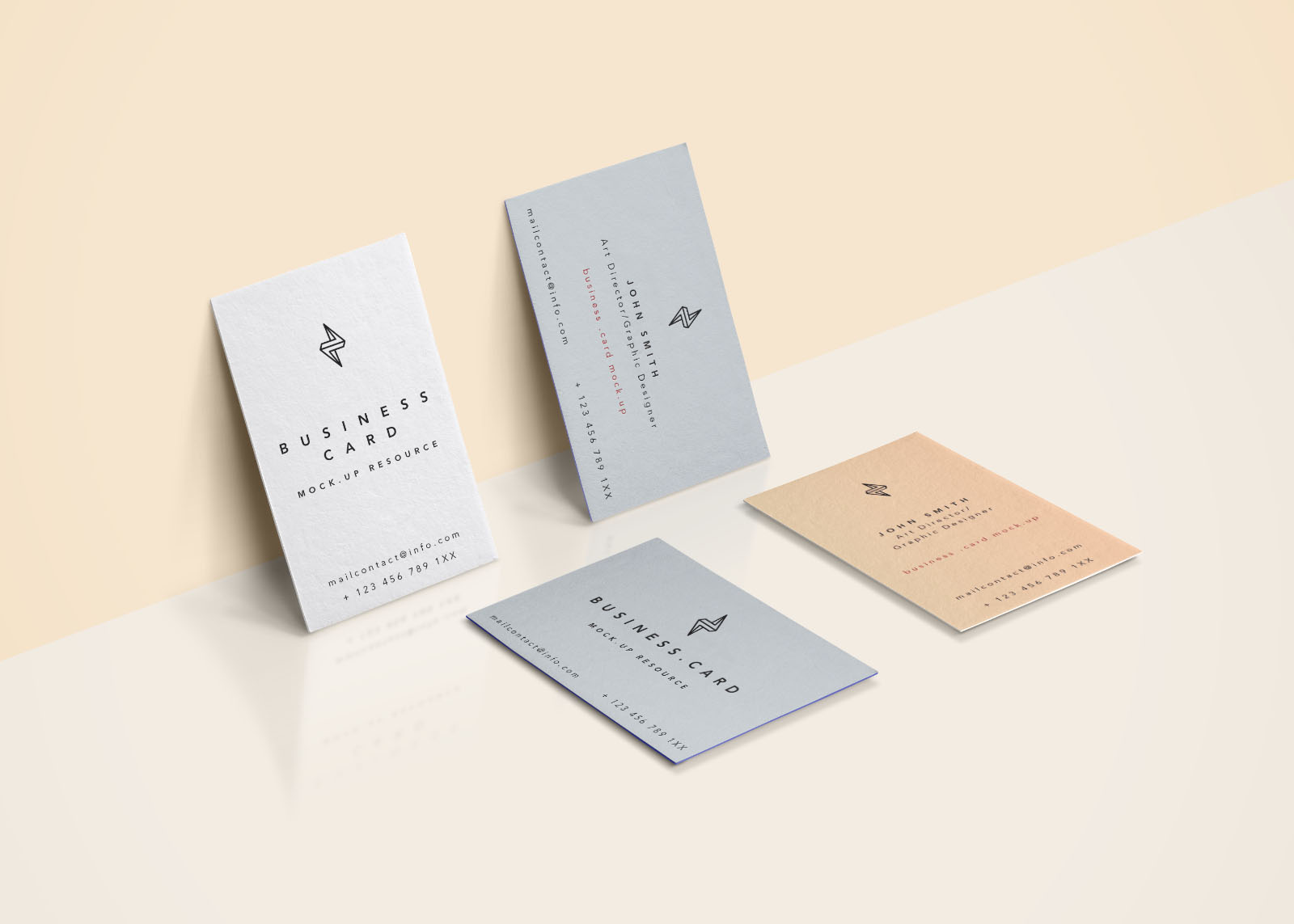 4 Business Cards Scene Mockup