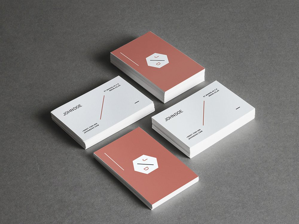 4 Stacks Business Cards Mockup
