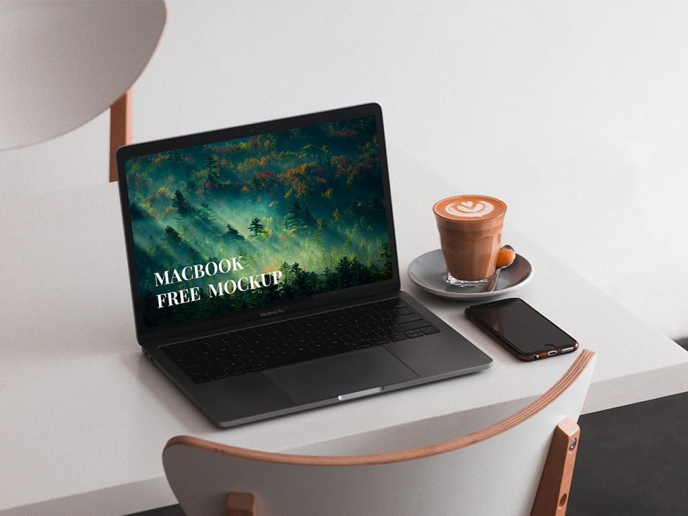 MacBook on Table Mockup