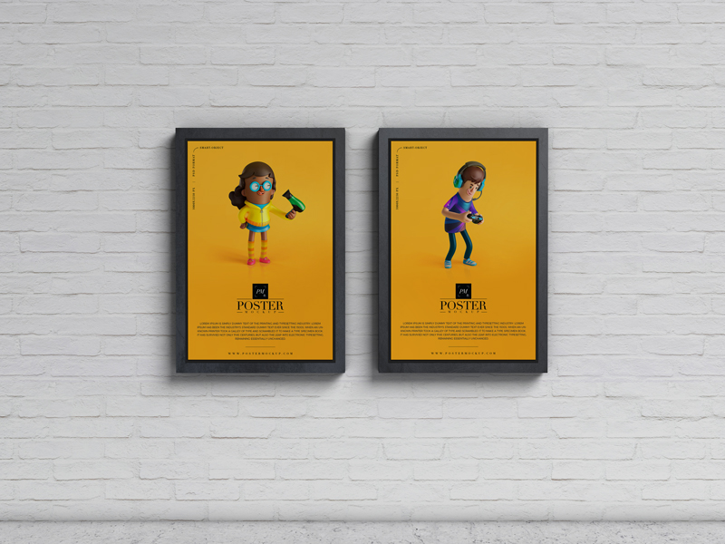 Advertisement Display Posters Mockup PSD