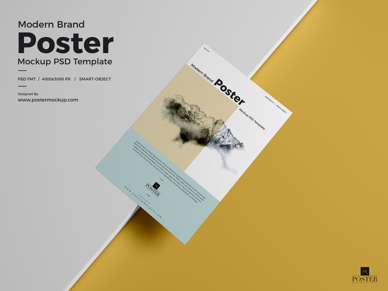 Modern Brand Textured Paper Poster Mockup