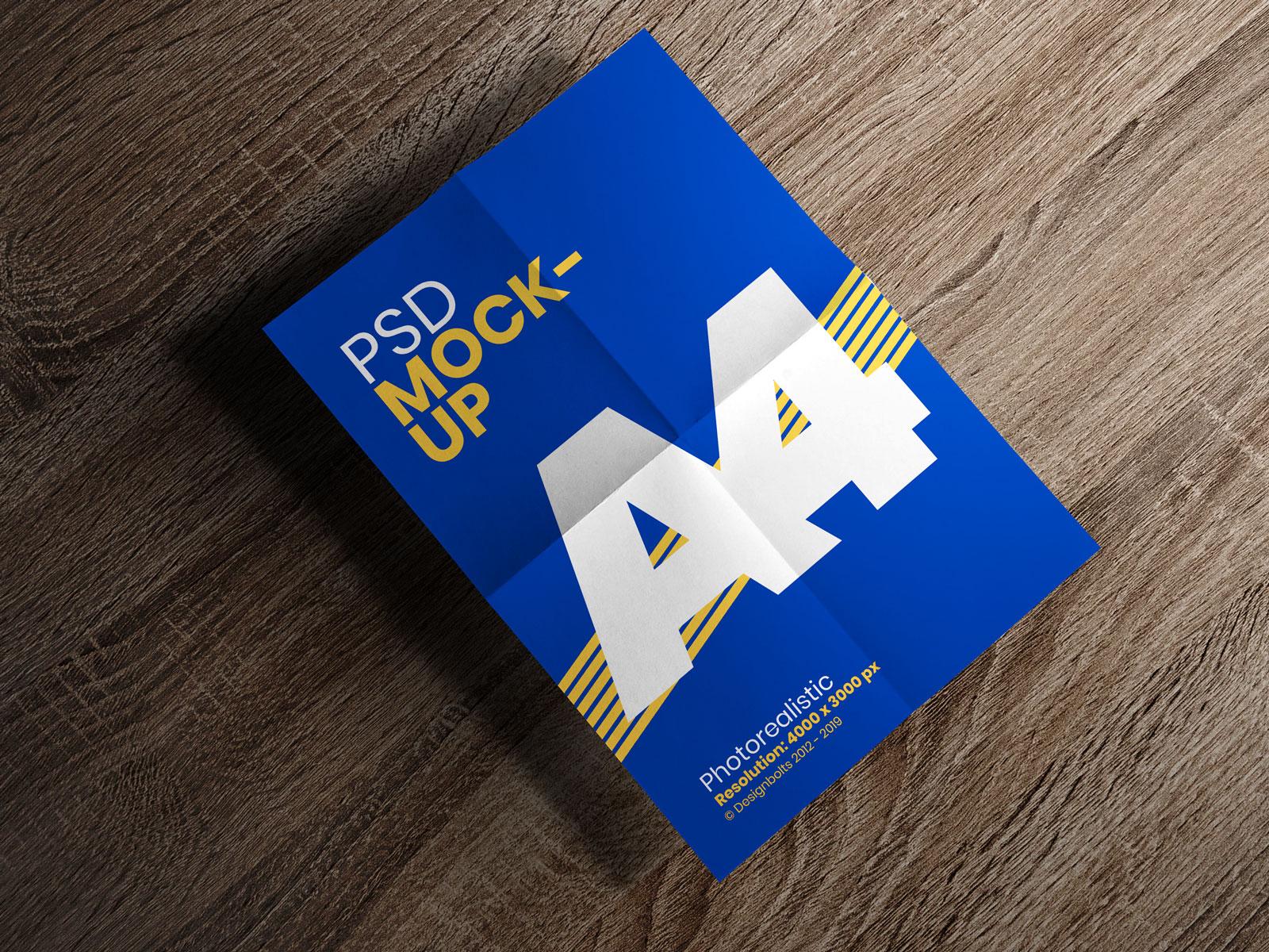 Free Folded Paper A4 Size Flyer Mockup