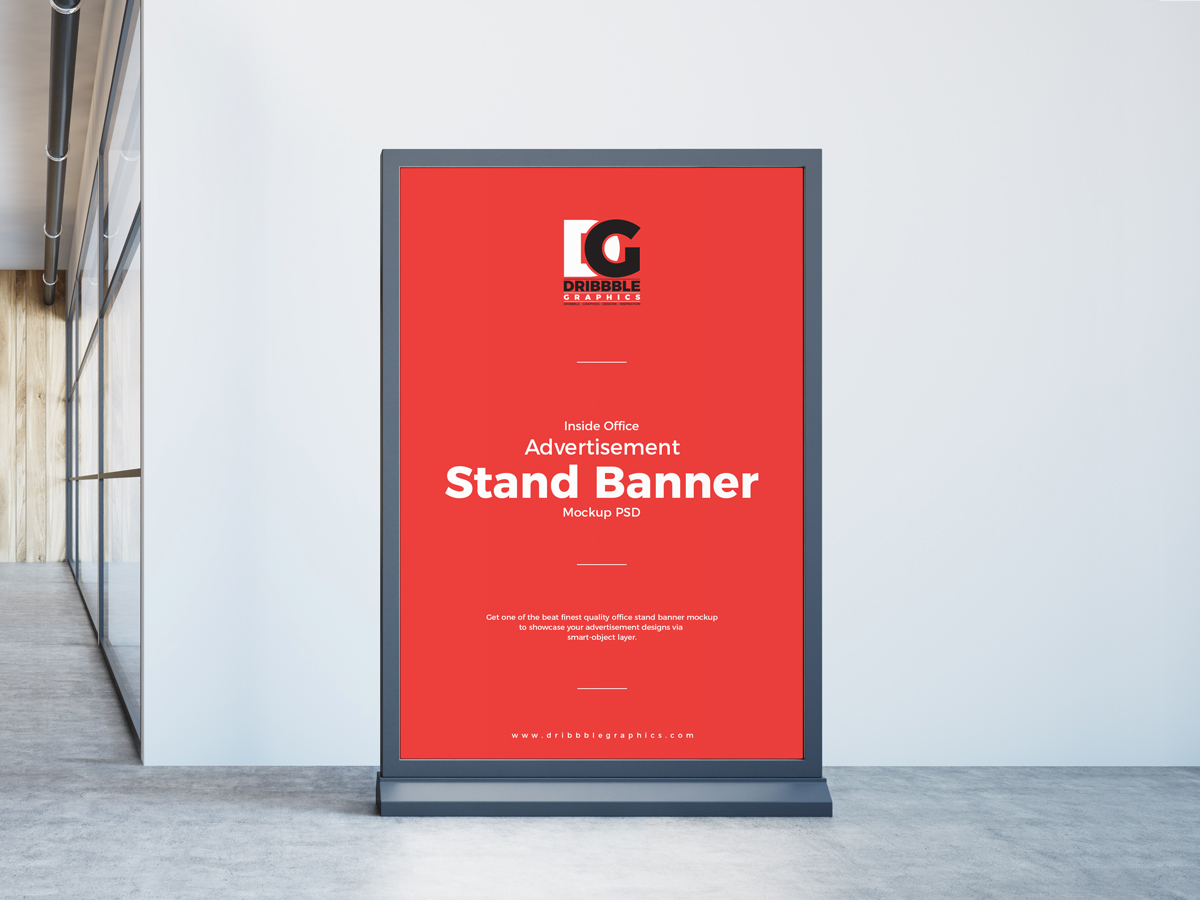 Advertisement Stand Banner Mockup PSD