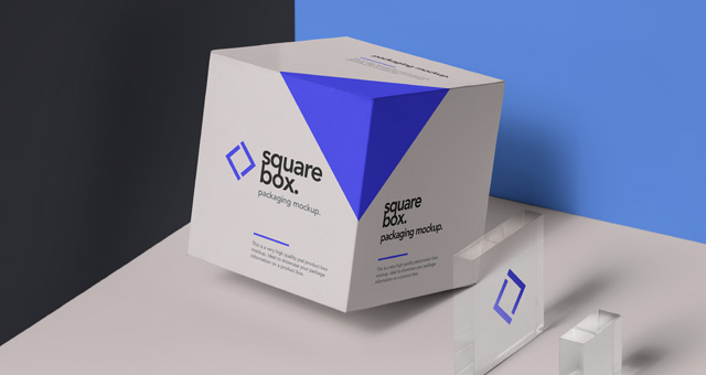 Square Psd Box Packaging Mockup