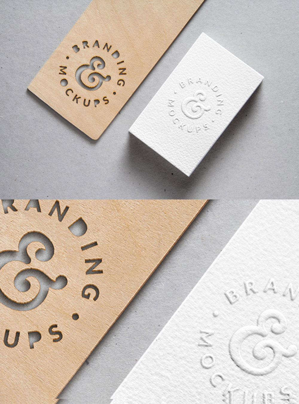 Cutout Wood  Embossed B-Card MockUp