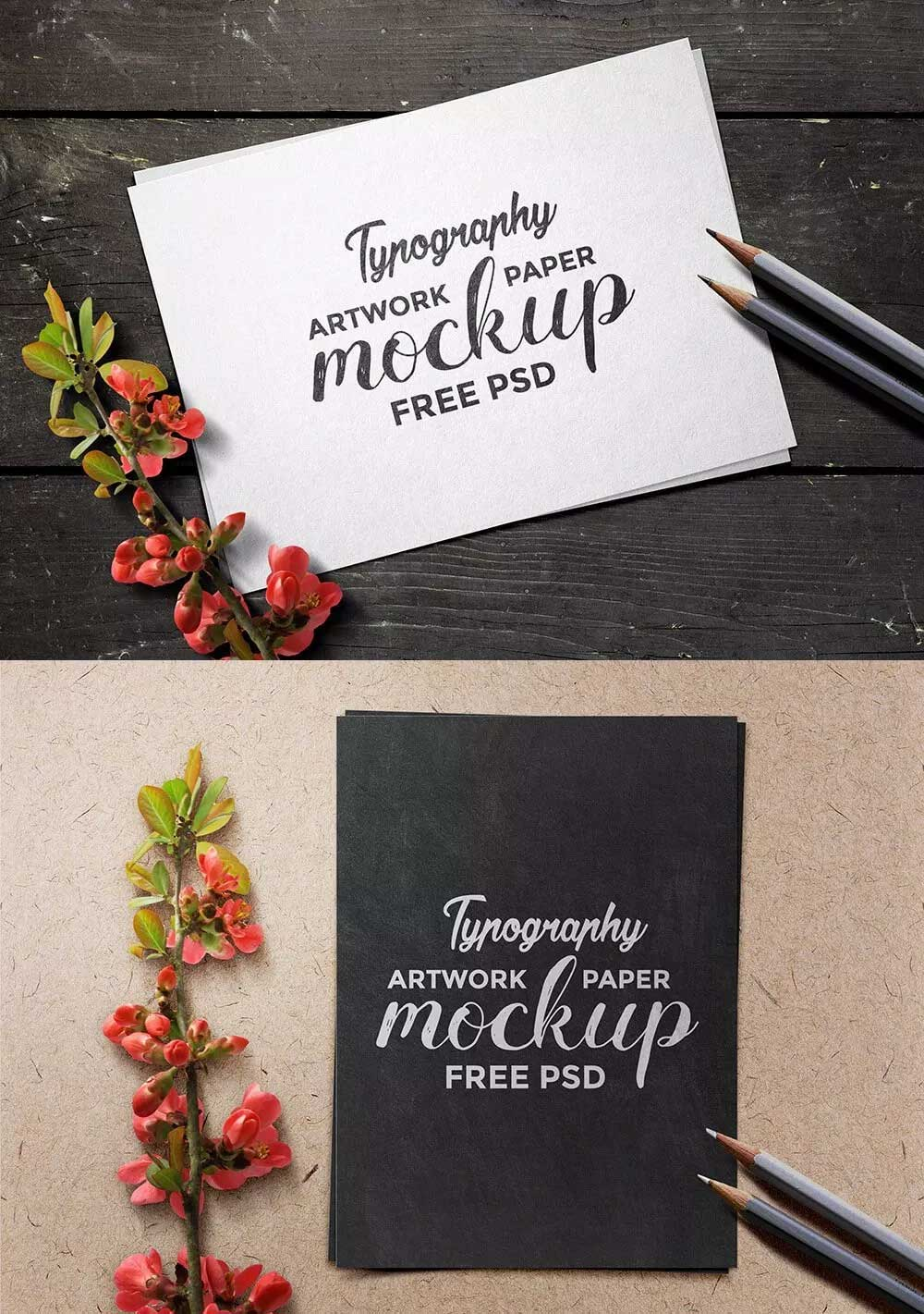 Typography Artwork Paper Mockup PSD