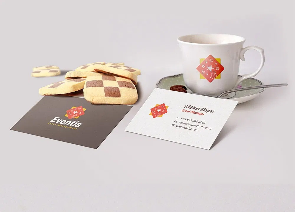 Business Card And Coffee Cup Scene Mockup