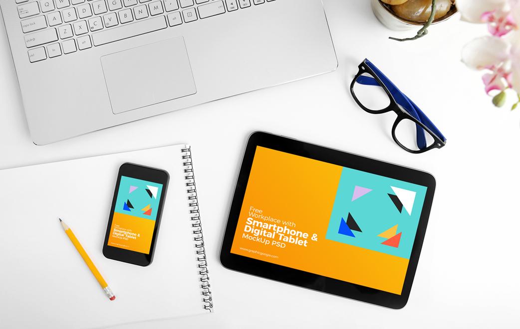Free Workplace Smartphone Tablet Mockup